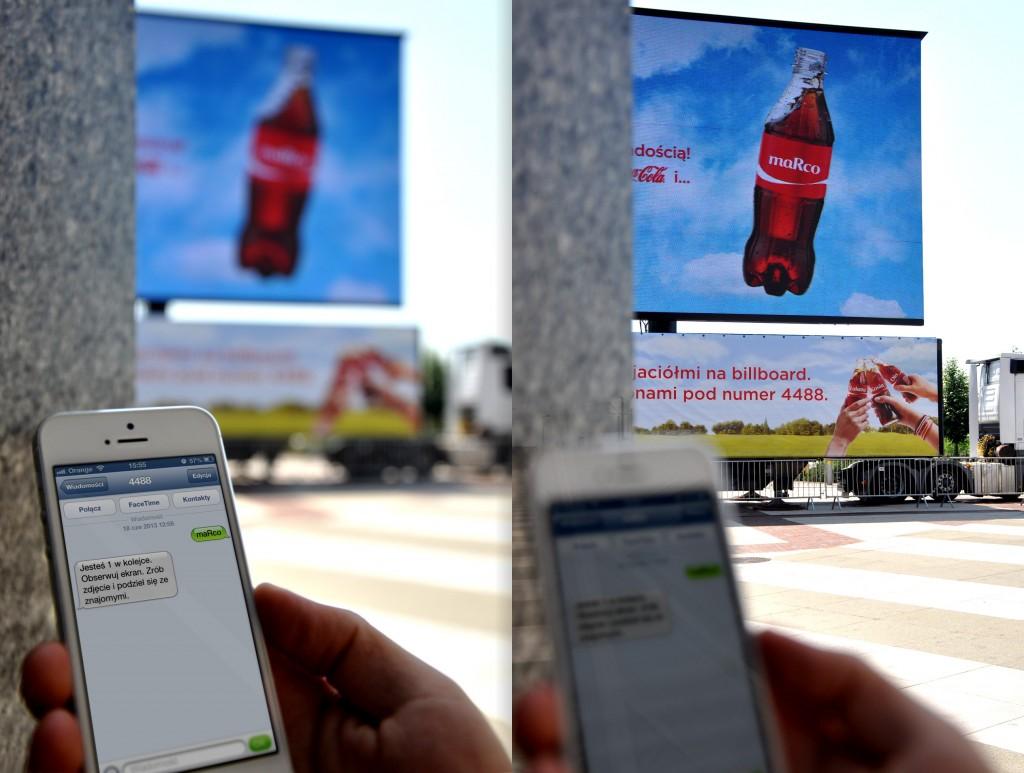 Interaktywny billboard Coca-Cola, który wyświetla imię przesłane SMS