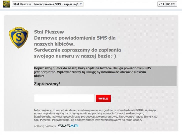 Stal Pleszew - zbieranie bazy numerów do wysyłki SMS przez Facebooka