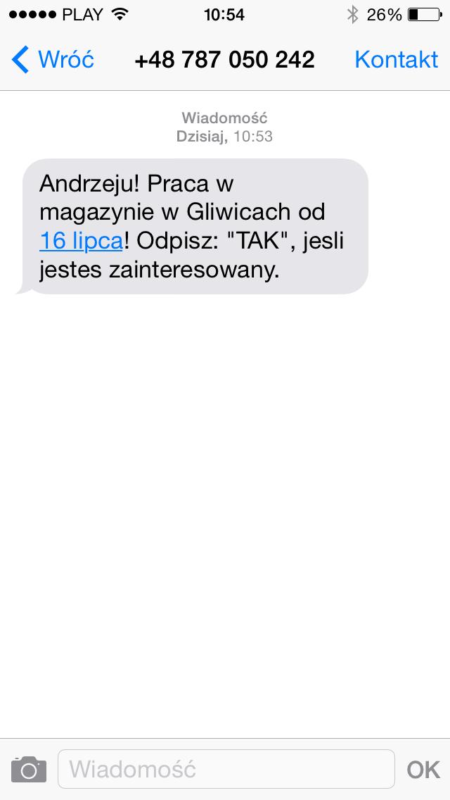 SMS w rekrutacji