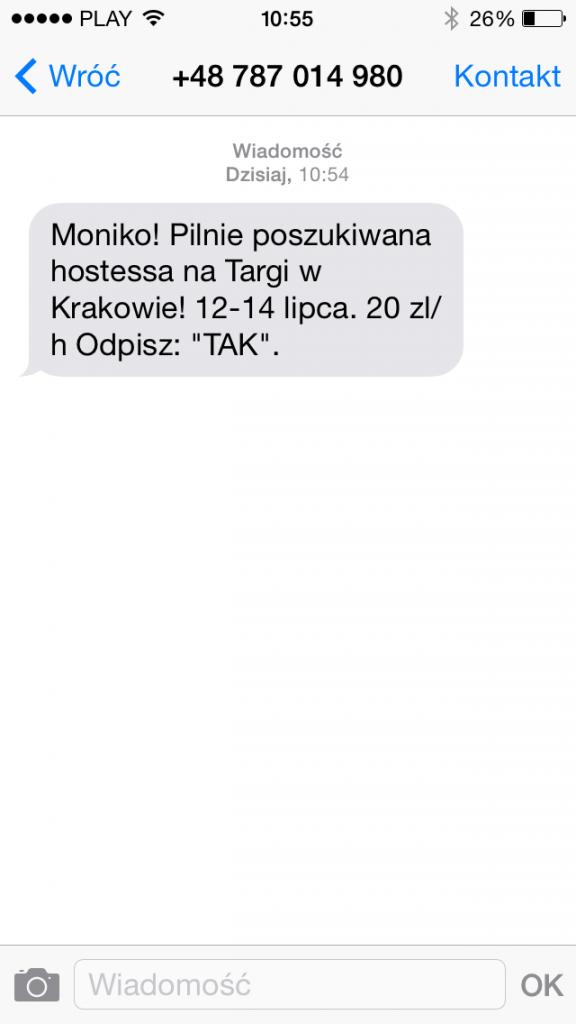 praca tymczasowa sms