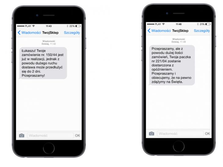 SMSAPI Przykłady SMS-ów informujących o dostawie i opóźnieniu