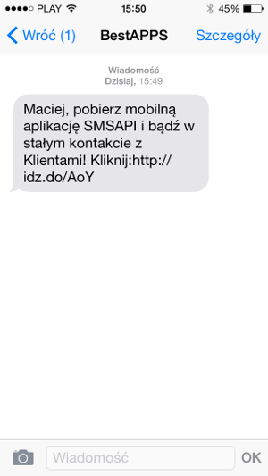 SMS w pobieraniu aplikacji