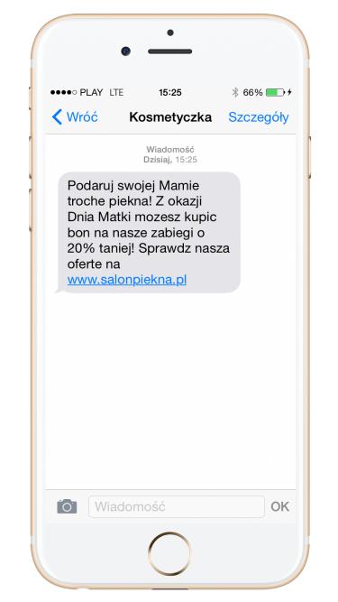 Kampania SMS przykład kosmetyczka