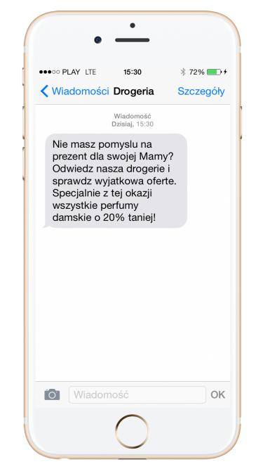 Kampania SMS przykład drogeria