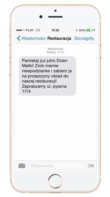 Kampania SMS przykład restauracja