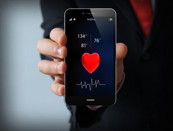 health concept: health app on touchscreen smartphone