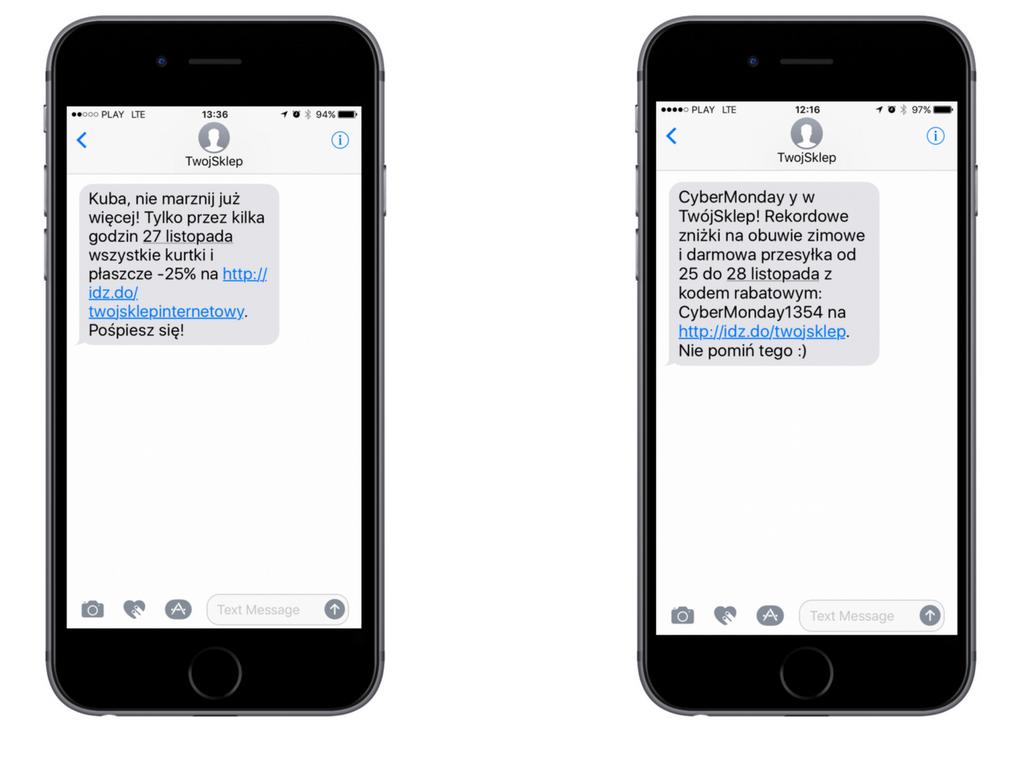 Przykłady SMS-ów informujących o czarno-piątkowych promocjach.