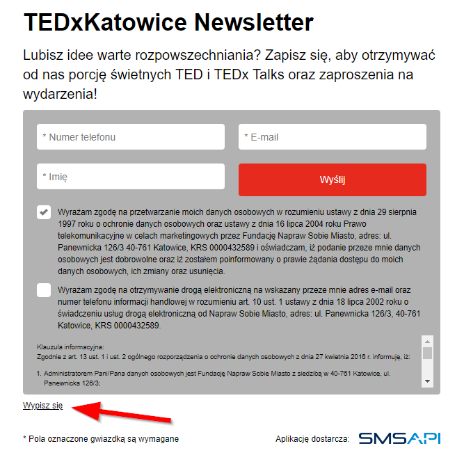 Newsletter SMS used by TEDxKatowice