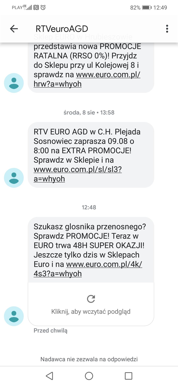 Przykład wiadomości SMS od sklepu RTV Euro AGD