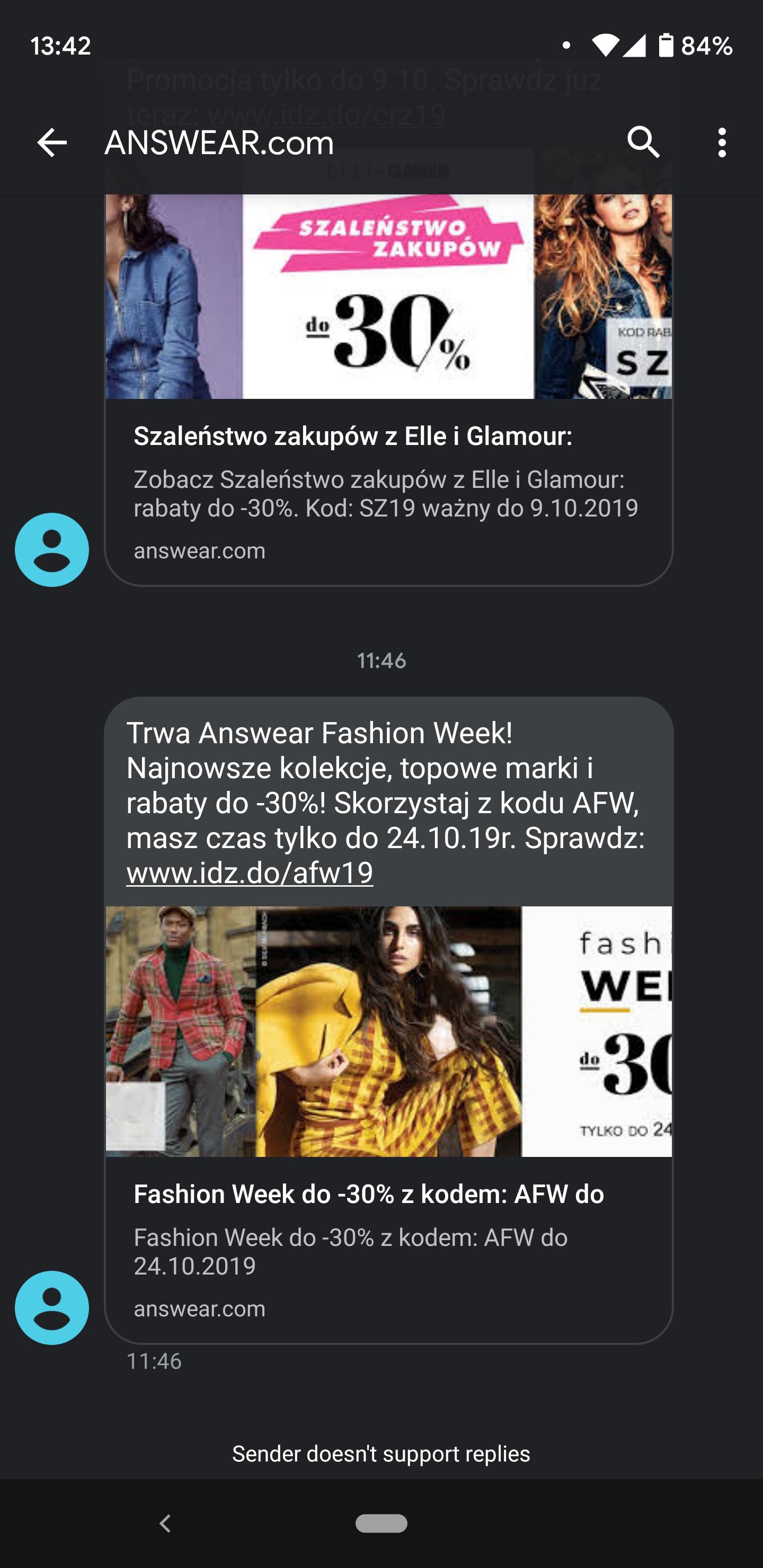 Answear SMS Podgląd Link Idz.do