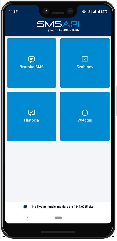 SMSAPI Aplikacja Mobilna Android Strona główna