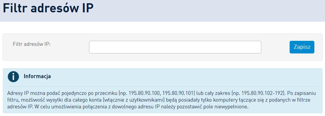 SMSAPI Filtr Adresow IP API