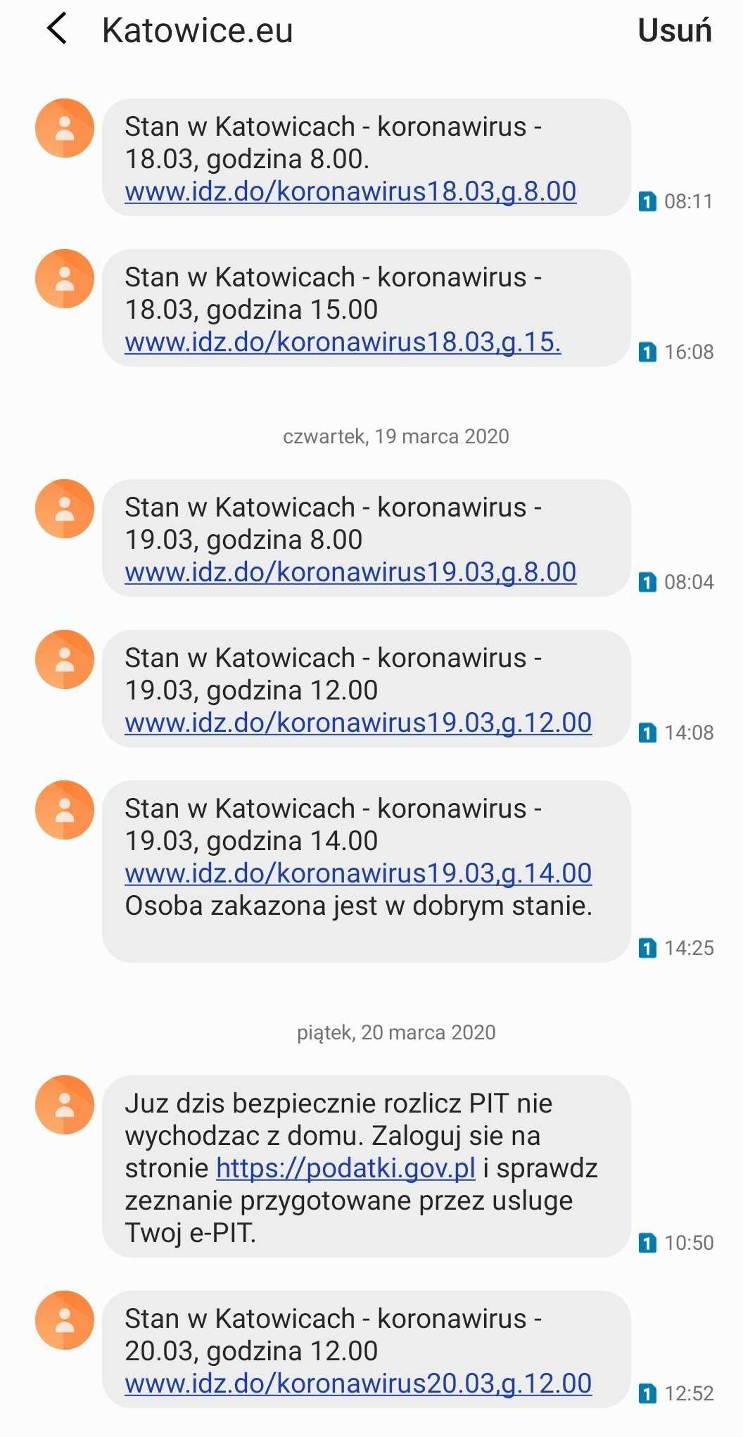 SMSAPI Urząd Miasta Katowice SMS Koronawirus