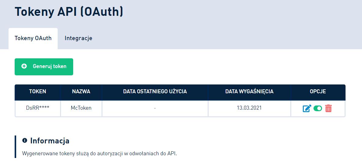 SMSAPI Tokeny OAuth2 API