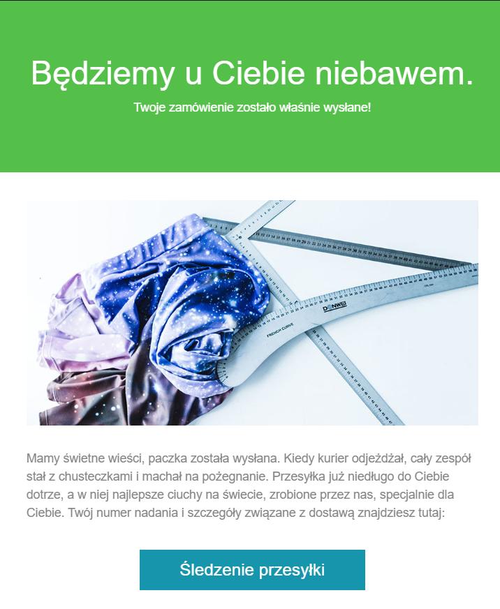 Przykład wiadomości e-mial informującej o wysyłce zamówienia