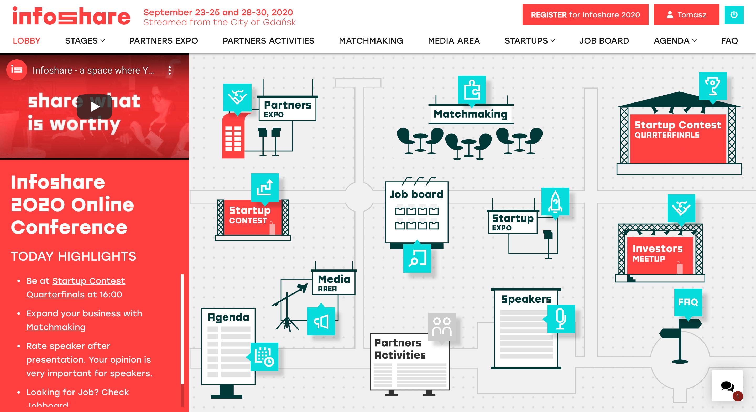 Wirtualne lobby konferencji Infoshare 2020