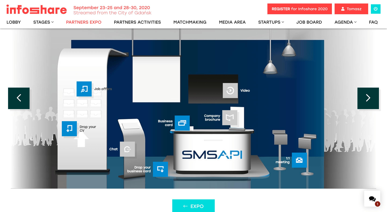 Wirtualne stoisko SMSAPI na Infoshare 2020