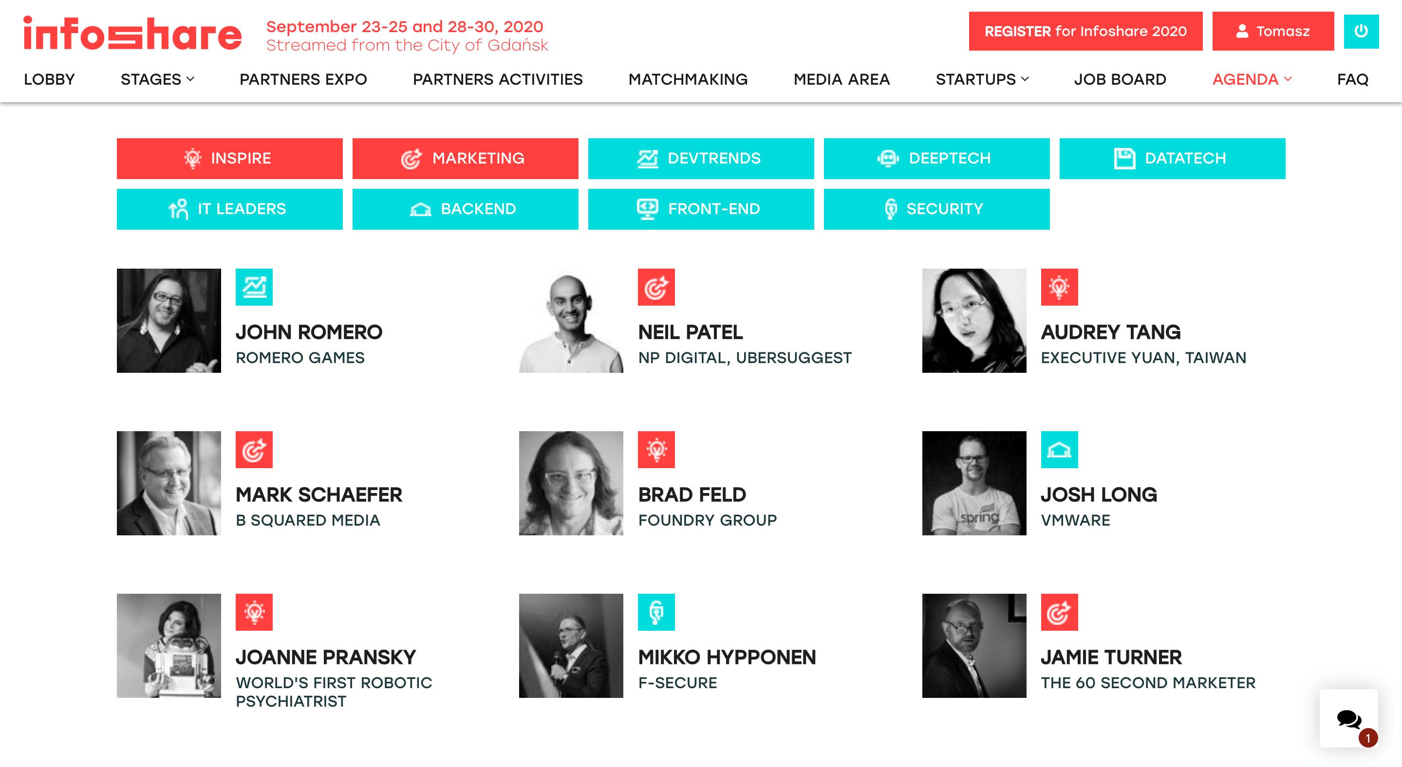 Lista prelegentów występujących podczas Infoshare 2020