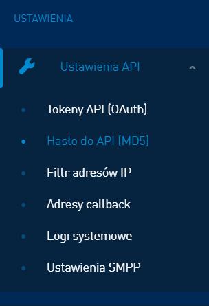Zakoduj hasło do API w MD5