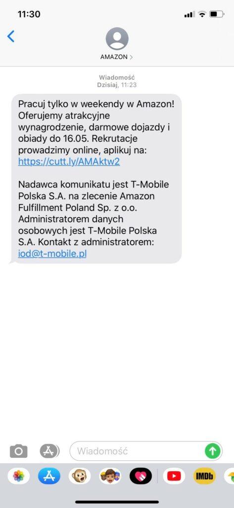 Rekrutacyjna wiadomość SMS przesłana przez Amazon