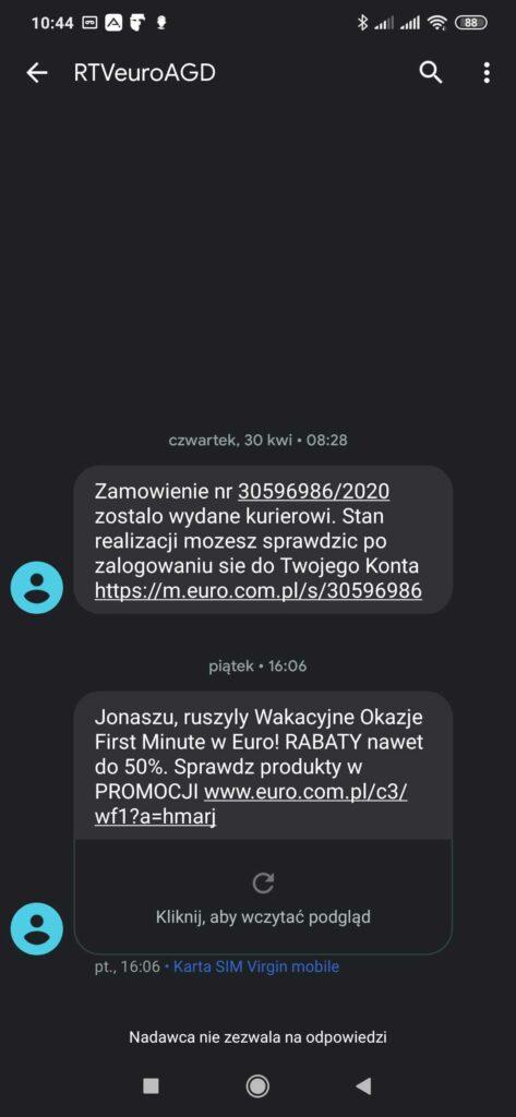 Powiadomienie SMS o dostawie zamówienia przesłane przez RTVeuroAGD