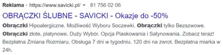 Przykład reklamy Google Ads
