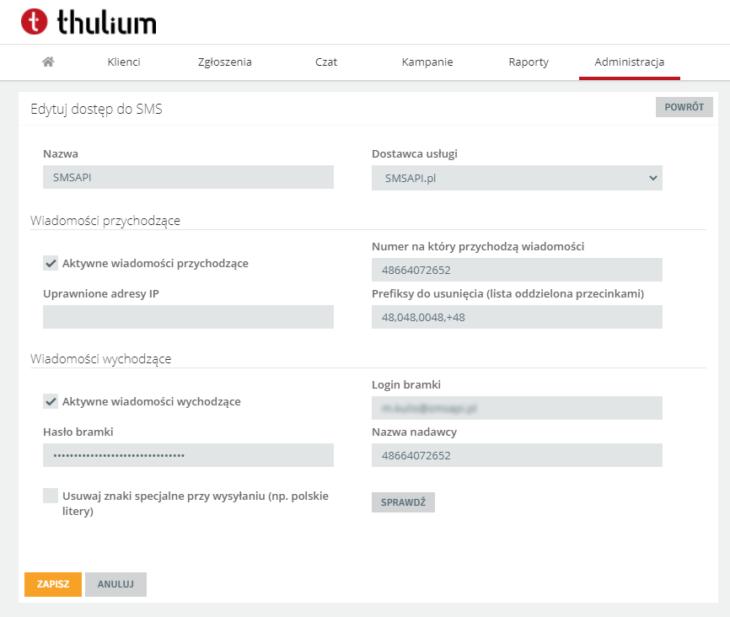 Dostęp do SMS w Thulium