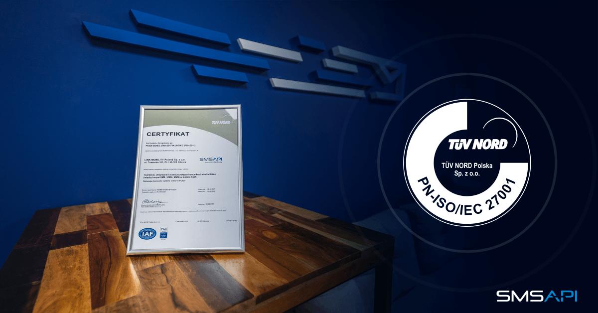 Certyfikat ISO 27001 zdobyty przez SMSAPI